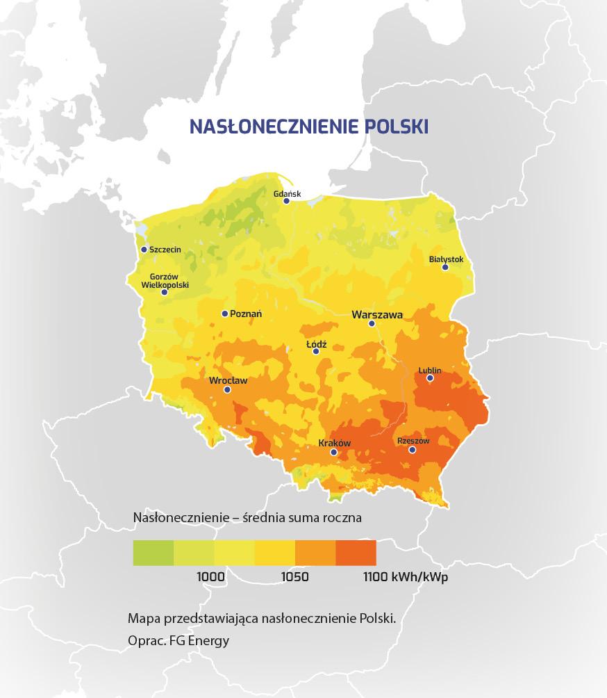 Nasłonecznienie Polski mapa